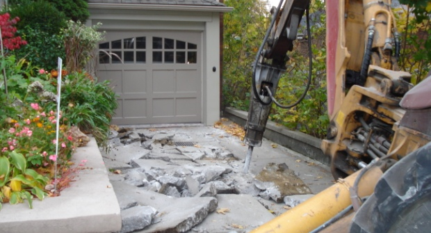 breaking up a concrete driveway